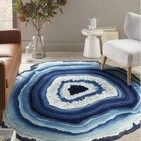 Antique 3D Dry Wood Grain Ring Sectiom Round Large Carpet for Living Room Kids Room Anti Slip Chair Floor Rug tapetes para casa