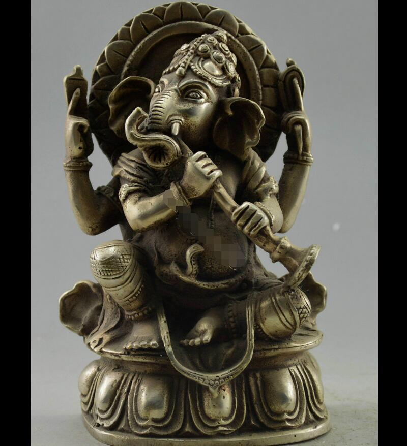 Zhmeru00470@++Collectible Decorated Tibet Silver Carved India Wealth God Play Flute Statue