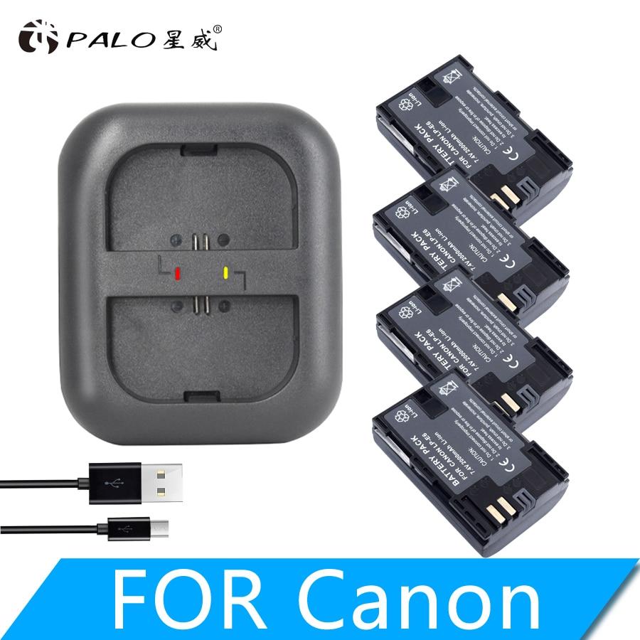 PALO 4 pièces E6 LPE6 LP-E6 E6N batterie 2000 mAh + LED double chargeur pour Canon EOS 5DS R 5D Mark II 5D Mark III 6D 7D 80D EOS 5DS R