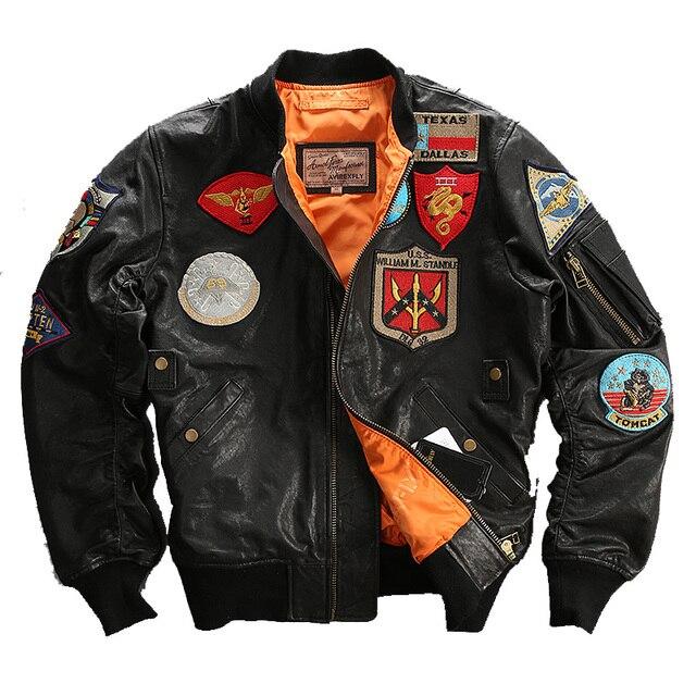 2016 Homens Jaqueta De Piloto de Couro Real da pele de Carneiro Preto Top Gun Curto Plus Size XXXL Homens Inverno Militar Casaco Russa LIVRE GRÁTIS