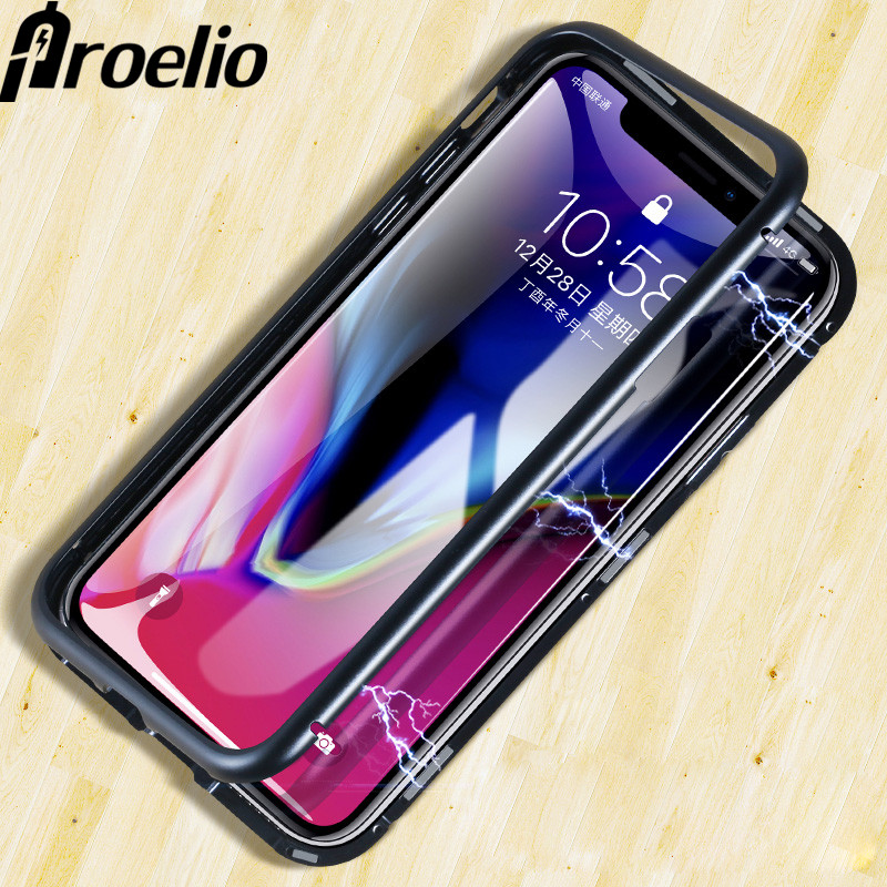 Magnetic Adsorption Metal Case For iphone XS Max X 7 8 6 Plus XR Samsung S8 S9 Plus Note 9