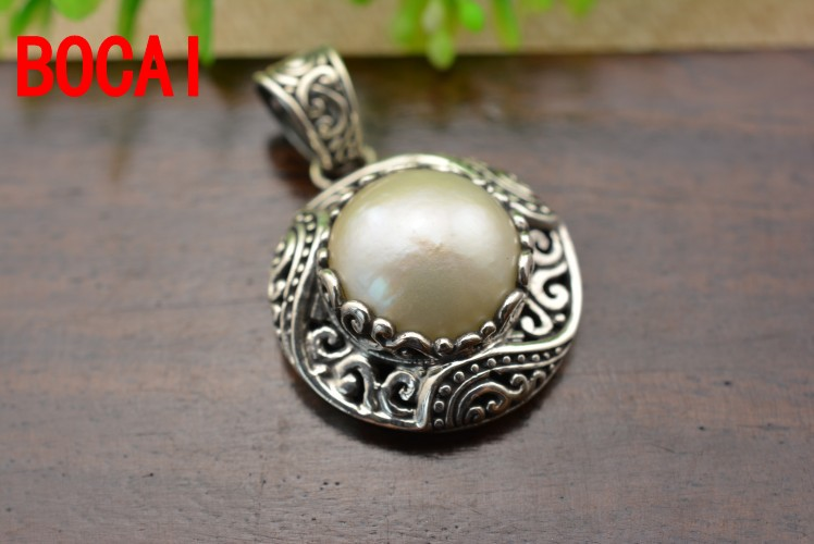925 sterling silver, natural pearl pendants, carved round