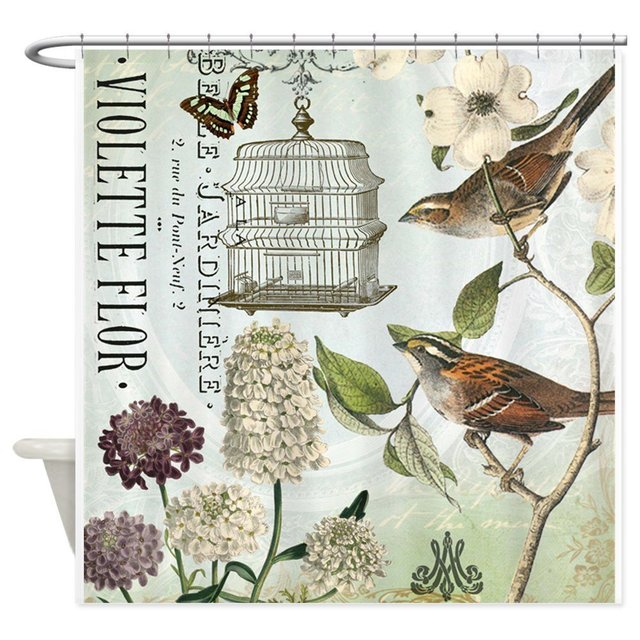 Modern Vintage French Birds And Birdcage Shower Cu Decorative Fabric Curtain For Bathroom Waterproof Polyester
