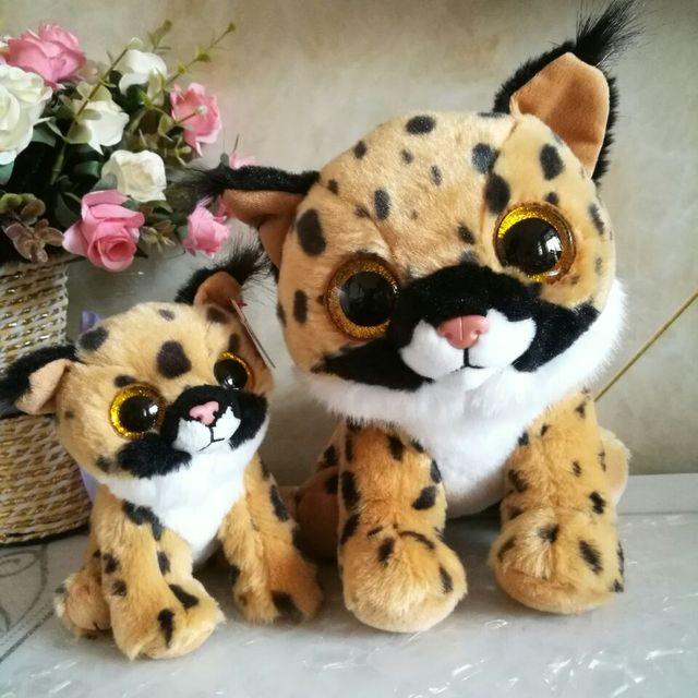 9dd51a1d9dc LARRY - brown lynx TY beanies 2PCs 15CM and 25CM Plush Toys Stuffed animals  KIDS TOYS