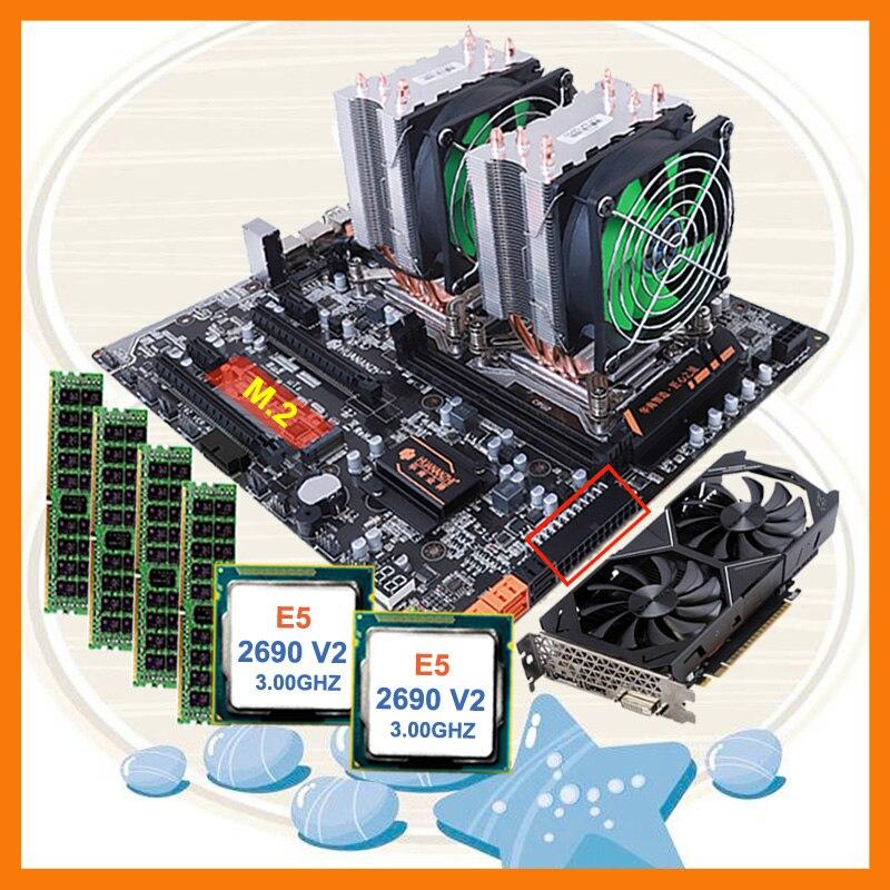 Desconto HUANANZHI dual slot dual CPU Intel Xeon motherboard pacote M.2 X79 E5 2690 V2 RAM 4*16G 1866 placa de vídeo GTX1050TI 4GD5