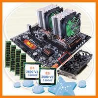 Discount HUANANZHI dual X79 motherboard bundle M 2 slot dual CPU Intel Xeon  E5 2690 V2 RAM 4*16G 1866 video card GTX1050TI 4GD5