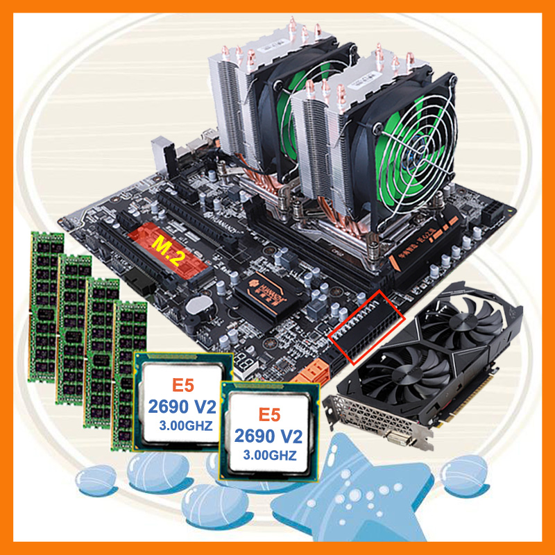 Discount HUANANZHI dual X79 motherboard bundle M.2 slot dual CPU <font><b>Intel</b></font> <font><b>Xeon</b></font> <font><b>E5</b></font> <font><b>2690</b></font> V2 RAM 4*16G 1866 video card GTX1050TI 4GD5 image
