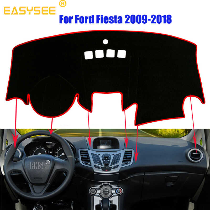 Car Dashboard Cover Pad Dashmat Dash Mat Sun Shade Carpet For Ford Fiesta MK7 2009 2010 2011 2012 2013 2014 2015-2018 Dust proof