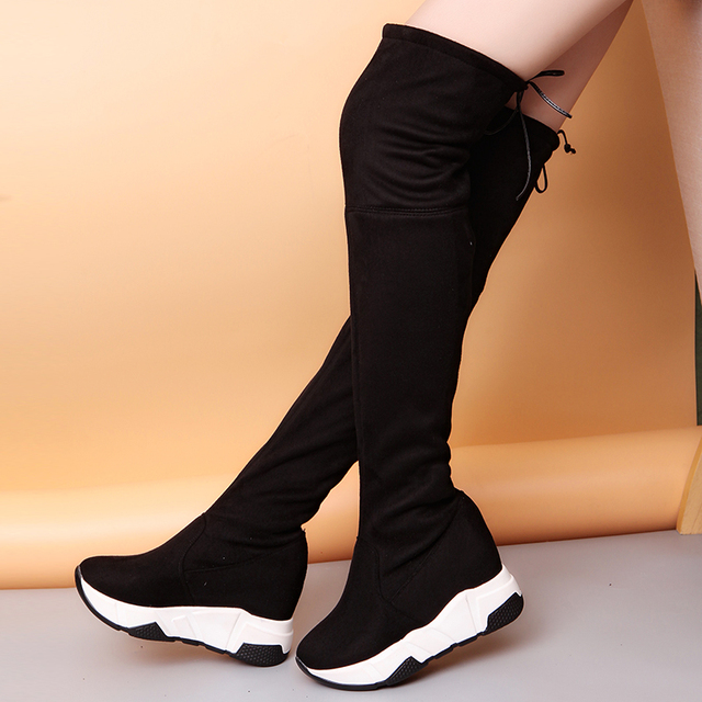 77adde844 Lucyever Women Winter Thigh High Boots Over The Knee Female Flcok Shoes  Lace Up High Heels