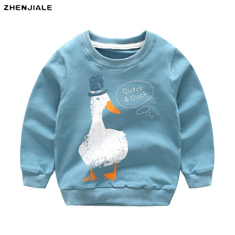 Littler boys cotton sweater duck cartoon pullover Baby shirts long sleeve clothing for girls to school fashion 2018 AFD91