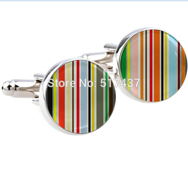 CF-063 Wholesale Cuff Links For Women And Men Colorful Stripes Cufflinks Color Cufflink Round Photo Cufflinks