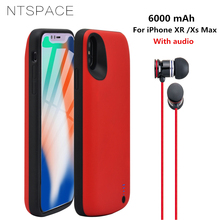 NTSPACE 6000mAh Ultra Thin Power Bank Case For iPhone Xs Max Portable Battery Charger XR With Audio