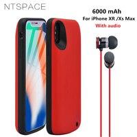 Ntspace 6000 mah 울트라 슬림 전원 은행 케이스 아이폰 xs 최대 휴대용 배터리 충전기 아이폰 xr 전원 케이스 오디오
