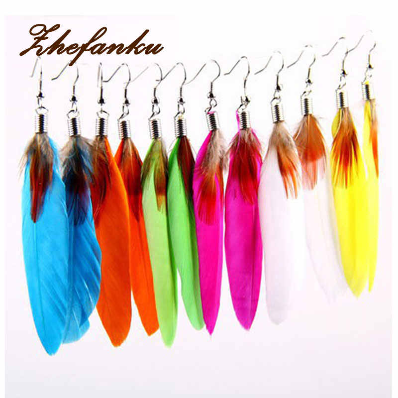 Hot Jual 2017 Musim Panas Gaya Busana Etnis Colorful Feather Earrings 12 Warna EAR-0112