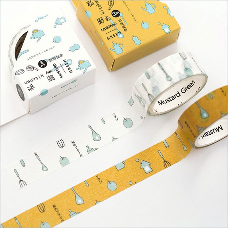 2pcs/lot 1.5cm*3m Kitchens Washi Tape DIY Decoration Tape Scrapbooking Masking Tape Adhesive Tape Label Sticker Stationery