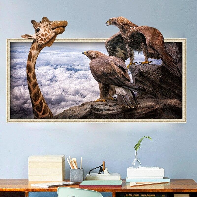 3D Wallpaper Vinyl DIY 3D Diri Perekat Wallpaper Lucu Jerapah 3D Stiker Dinding Simulasi Gratis Desktop