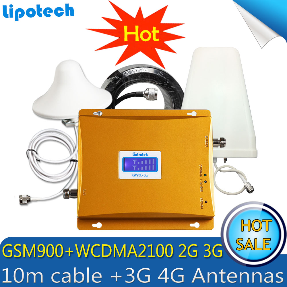 Lintratek 10 mt Kabel Set 3g WCDMA 2100 mhz GSM 900 mhz Dual Band Handy Signal Booster GSM signal Repeater 3g 4g Antennen