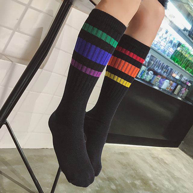 7cf54ee4a7f Children s knee socks rainbow colored pattern striped boys kids school knee  high sock cotton white black long leg warmers 1-10T