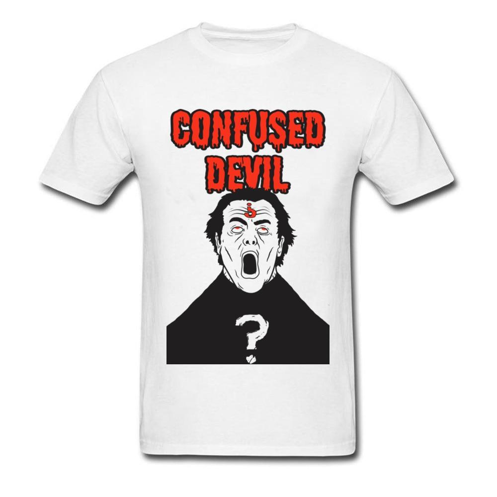 Brain Matter 2018 Question Mark Confused Devil White T-shirt Men Fashion Clothing Rebel Hipster Hip Hop T Shirts Funny