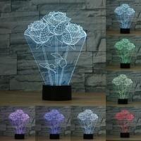 7 kolor Rose 3D Night light lampa Led Nowoczesny Salon Decor Lampa stołowa Światło Dla Sypialni Nowość Kochanka Prezent Prezent Ślubny IY803106