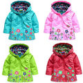 Kids Children Girls New Flowers Hooded Waterproof  Windproof Raincoat coat Free Shipping