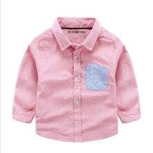 Enfants vêtements de bébé garçons chemise 2017 nouveau printemps et automne à manches longues coton enfants chemises turn-down col tops 90-130 cm