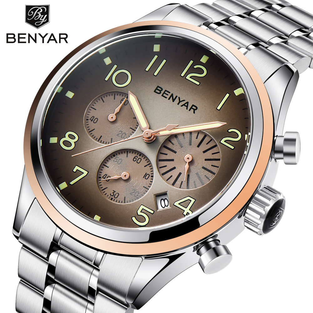 BENYAR Stainless Steel Gold Watch Men Coffe Dial Chronograph Sport Watch Waterproof Calendar Business Wrist Watches Men 2018 New цена и фото