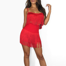 Tassel Strapless Sexy Two Pieces Dress Red Summer Women Bandage  Club Elegant Mini Party Dresses