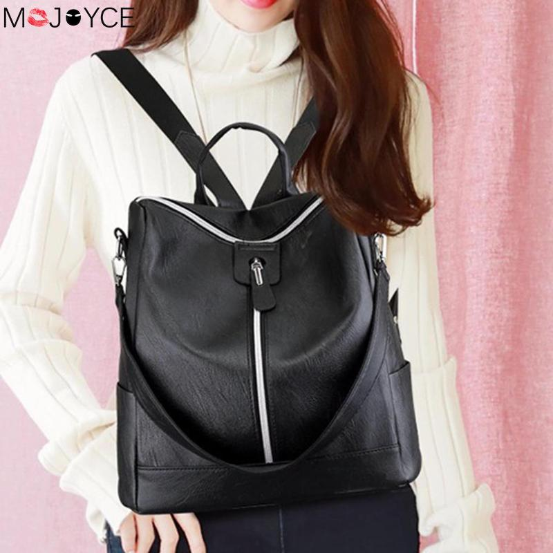 Leather Backpack Mochila Women Big Zipper Backpack Student Bag Backpack Female Large Casual Travel Bags Mochila Feminina Sac #2