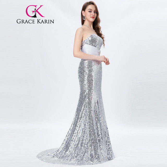 Online Shop Grace Karin Gold Evening Dresses Luxury Long Silver ...