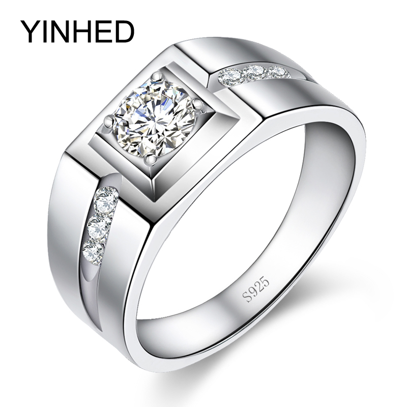YINHED 100% Solid 925 Sterling Silver Ring 1 Carat Cubic Zircon CZ Engagement Rings For Men Wedding Ring Jewelry ZR307