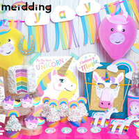 MEIDDING 1 Set Various Unicorn Party Gifts Baby Shower Birthday Party Decor Wedding Decorations Rainbow Unicorn