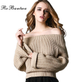 Rebantwa Slash Neck Christmas Sweater Women Sexy Off Shoulder Causal Sweaters and Pullovers Autumn Winter Gray Korean Pullover