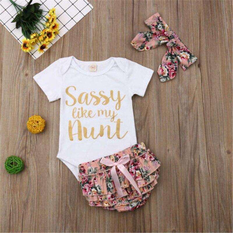 0-18 Monate 3 Teile/satz Baby Mädchen Kleidung Set Brief Druck Baby Body Kurzarm Bodys Kurze Hosen Haarband Baby Set Tuch