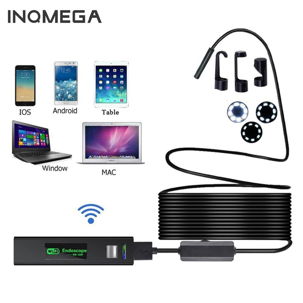 INQMEGA WIFI Endoscope Camera HD 1200P 1-5M Mini IP67 Waterproof Hard Wire Wireless 8mm 8LED Borescope Camera For Android PC IOS