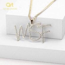 Personalizado iced para fora cursive nome colar letras iniciais zircônia placa de identificação colar hippop cubana chain jewelry para homens