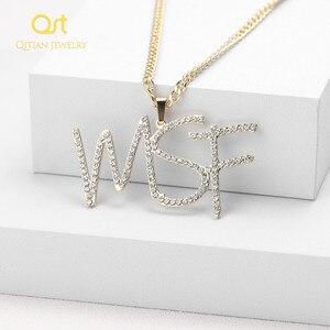 Image 1 - Personalizado iced para fora cursive nome colar letras iniciais zircônia placa de identificação colar hippop cubana chain jewelry para homens