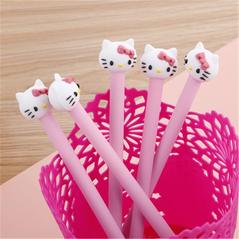 Hello Kitty Korean Stationery Cartoon Cute Kitty Pen Advertising Pink Gilrs Gel Pen School Fashion Office Kawaii Supply