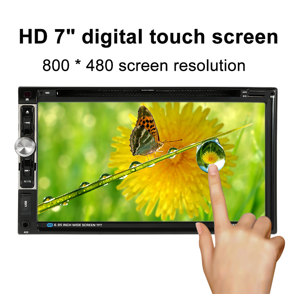 7 Universal 2 Din Car DVD Player HD Bluetooth Car Stereo DVD CD Player USB/TF FM Aux Input TV Radio with HD Rear View Camera