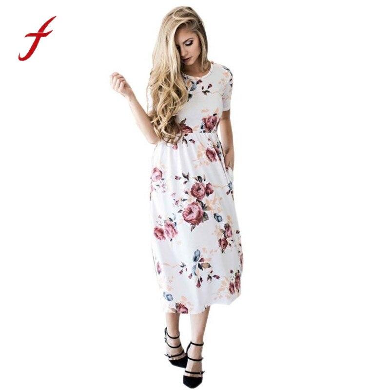 NEW Women Floral Print Short Sleeve Boho Dress Ladies Evening Party Maxi Dress 2017 Summer White Dress Women vestidos playa