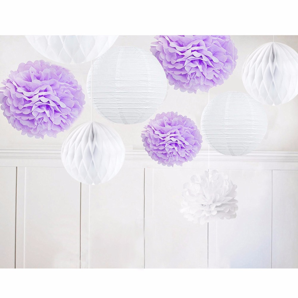 ebc254b3a58a 9pcs Purple White   Lilac Theme Kit Paper Decoration Paper Pom Pom Crafts  Flower Home Hanging Outdoor Party Decoration