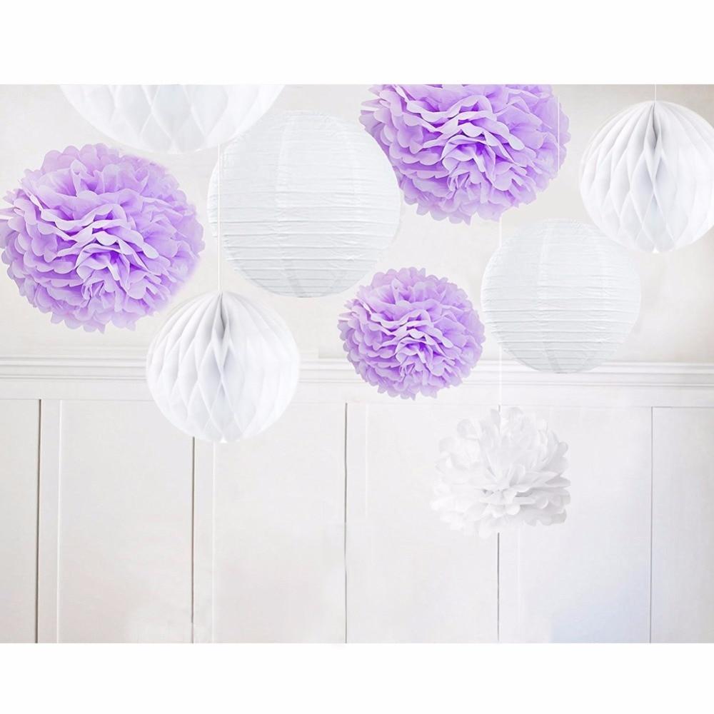 9pcs Purple White / Lilac Theme Kit Paper Decoration Paper Pom Pom Crafts Flower Home Hanging Outdoor Party Decoration