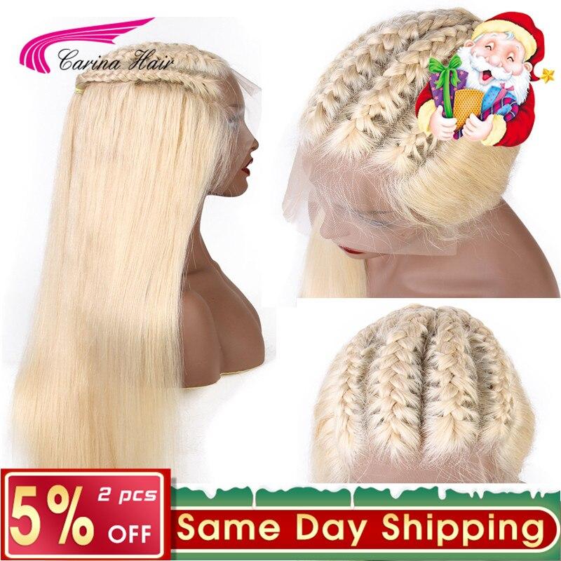 Platine Longue Blond 613 13x6 Avant de Lacet Perruque avec Bébé Cheveux Carina Brésiliens ST Remy Humains Cheveux 613. perruques avec Blanchis Knotes