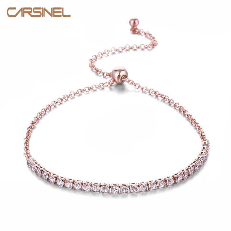 CARSINEL luksusowe bransoletki dla kobiet różowe złoto kolor biały AAA Cubic cyrkon biżuteria ślubna dla kobiet hurtowych BR0070