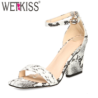e29bc117df WETKISS Plus Size 44 Snake Ankle Strap Sandals Women Open Toe Footwear High  Heels Shoes Female
