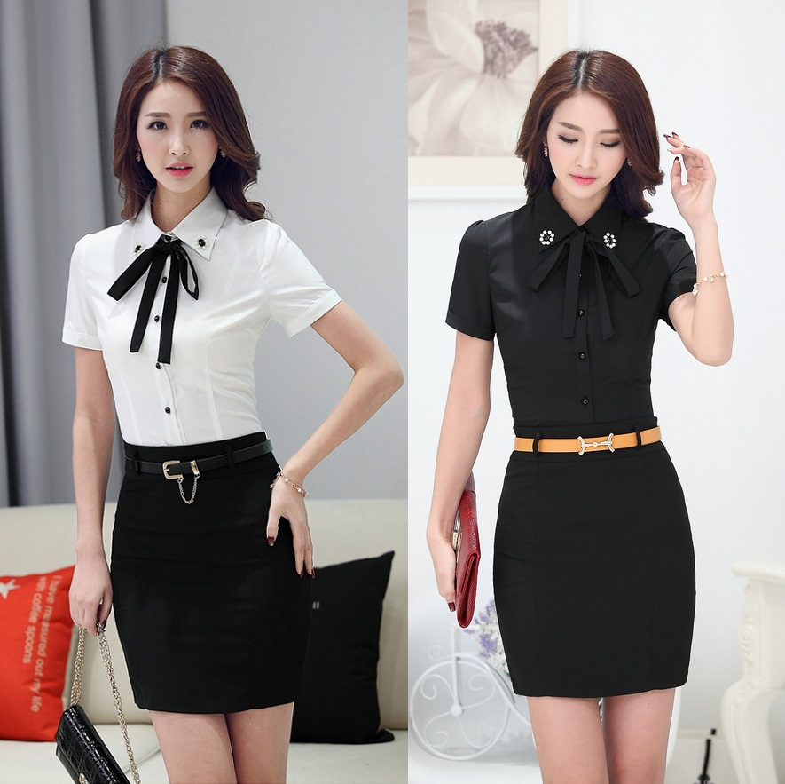 Summer Formal Black Shirts Women Short Sleeve Blouse Work
