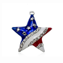 USA Flag Rhinestone Star Pendant Charms Patriotic 4th of July Independence Day Jewelry(China)