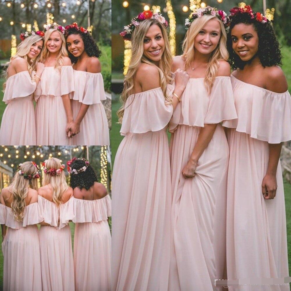 2019 mousseline de soie longues robes de demoiselle d'honneur élégant rose hors de l'épaule plage bohème demoiselle d'honneur robe de mariée grande taille