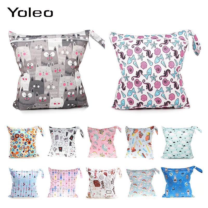 Baby Diaper Bag Waterproof Travel Nappy Bags Reuseable Wet Bag Printed Pocket For Mommy Storage Stroller Accessories