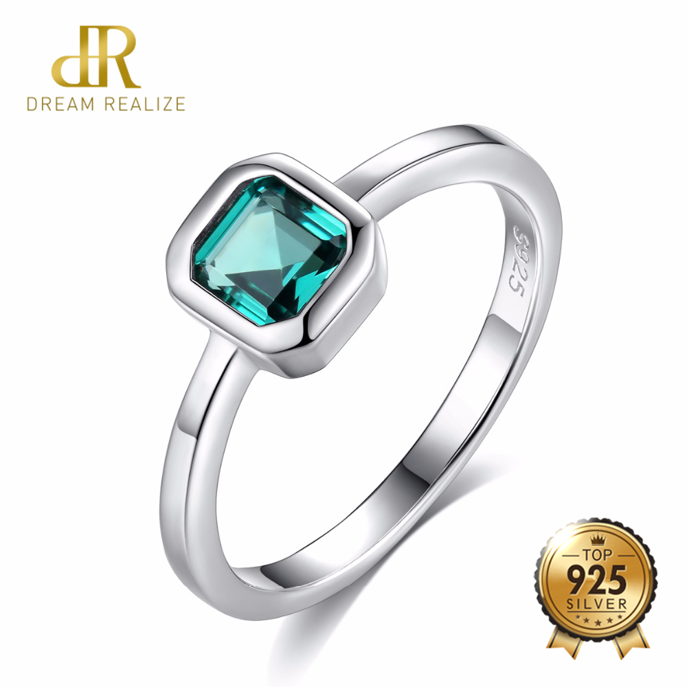 DR 925 Sterling Silver Engagement Rings For Women 4mm*4mm Square Emerald Gemstone Promise Wedding Ring Anel Feminino Diamond